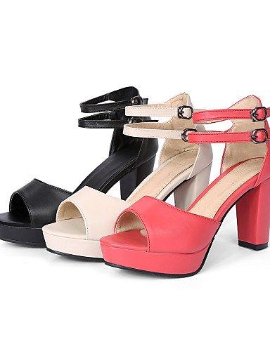 LFNLYX Zapatos de mujer-Tacón Robusto-Tacones / Punta Abierta-Sandalias-Casual-Semicuero-Negro / Beige / Coral coral