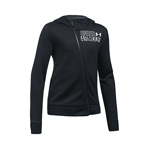 Under Armour Girls' Armour Fleece Full Zip Hoodie,Black (001)/White, Youth Large - Printed Full Zip Fleece