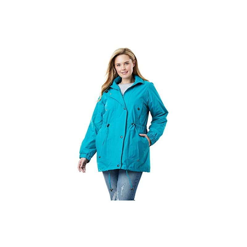 75dd8eec6f3 Woman Within Plus Size Women s Plus Size Fleece-Lined Taslon Anorak