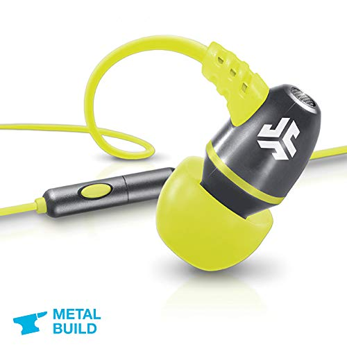 JLab Audio NEON Metal in-Ear Earbuds with Universal Mic for iPhone & Android, Guaranteed for Life - Gray/Yellow