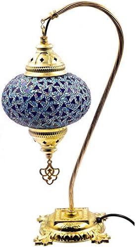 Ekayist Decorative Gold Plating Handmade Swan Neck Turkish Mosaic Glass Table Lamp Blue Colors