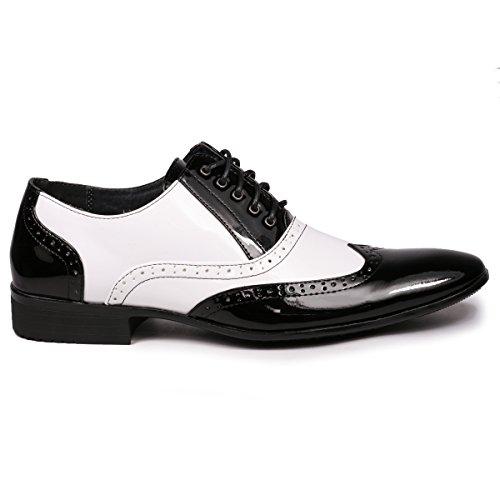 Miko Lotti ML502 Mens Wingtip Lace Up Tuxedo Oxford Dress Shoes Black White l7Nrih