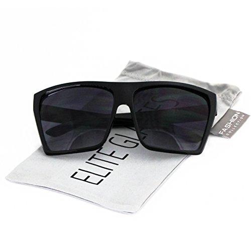 Elite Oversized Aviator Flat Top Square Vintage Retro Fashion Men Women Sunglasses (Shiny Black / Silver Arm, 2.4)