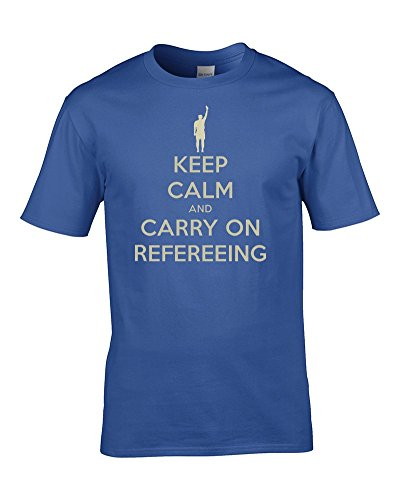 "Camiseta de árbitro con texto en inglés ""Keep Calm and Carry On Refereing"""
