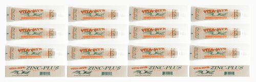- 12 Pk VITA-MYR 4 Oz Herbal Zinc+ Natural Toothpaste Safe & Effective Toothpaste No Sugar, No Fluoride, No SLS, No Aspartame, No Saccharin, Low-Abrasive, Gluten Free & Vegan, Whiten Teeth!