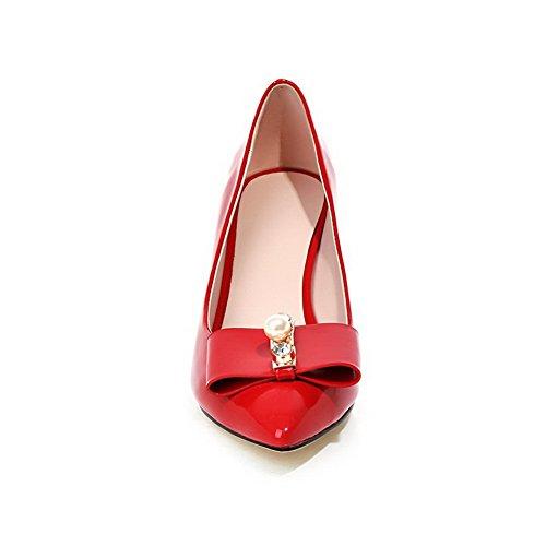 Amoonyfashion Femmes Pointu Bout Fermé Pull-on En Cuir Verni Solide Kitten-talons Pompes-chaussures Rouge