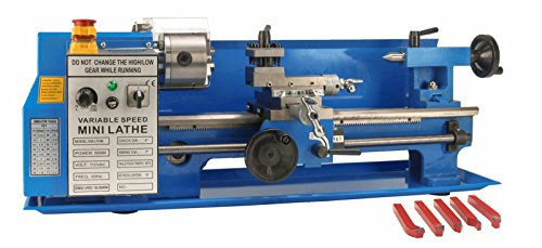 Erie Tools 7 x 14 Precision Bench Top Mini Metal Milling Lathe Variable Speed 2500 RPM & Digital Readout with 5 pc. Cutter Kit by Erie Tools