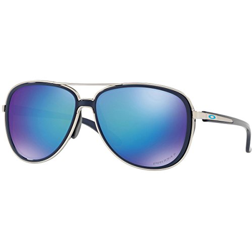 Oakley Women's Split Time Polarized Aviator Sunglasses, Navy, 58.2 mm by Oakley