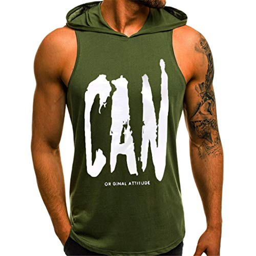 Kaniem Mens Casual Slim Fit Tank Top Hoodie Letter Print Lightweight Sleeveless Vest Tee (L, - Six Satin Vest After
