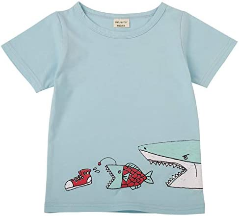 Estampado De Dibujos Animados para Bebés Camiseta De Tiburón para ...