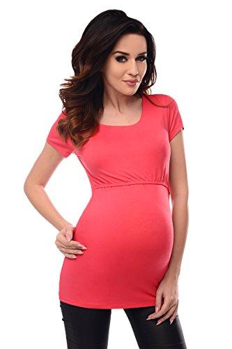 Purpless Maternity Embarazo y la Lactancia de Manga Corta Túnica Superior 7020 Raspberry