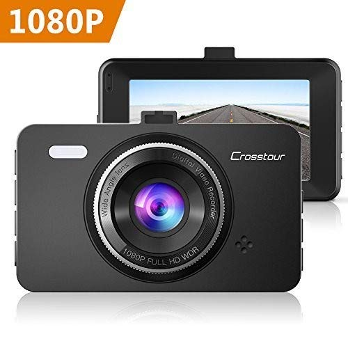 Dash Cam, Crosstour 1080P Car Cam Full HD with 3'' LCD Screen 170°Wide Angle, WDR, G-Sensor, Loop Recording and Motion Detection (CR300) by Crosstour