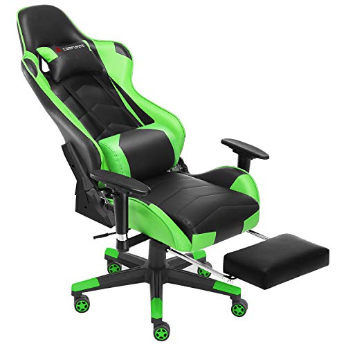 JL Comfurni Gaming Chair with Footrest Office Chair Reclining High-Back Ergonomic PU Leather Desk Chair Racing Swivel Computer Chair with Adjustable Headrest and Lumbar Support for Adults - Green
