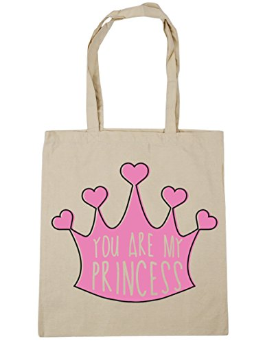 HippoWarehouse YOU ARE MY Princess bolsa de la compra bolsa de playa 42 cm x38 cm, 10 litros Natural