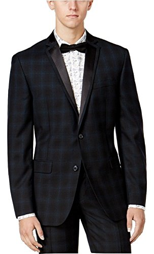 Bar III Slim Fit Navy Plaid Two Button Wool Blend New Men's Sport Coat (38 (Plaid Wool Blend Blazer)