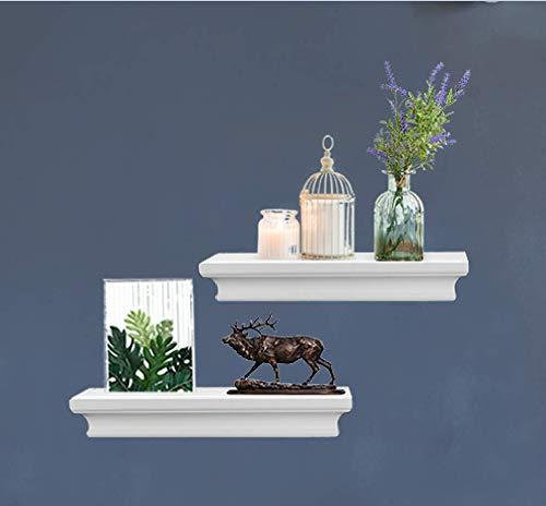 LightStan Floating Shelves Wall Mount, Modern Art Decorative Display Ledges for Living Room/Bedroom/Bathroom/Farmhouse - 4 Inches Deep Storage, Set of 2, White