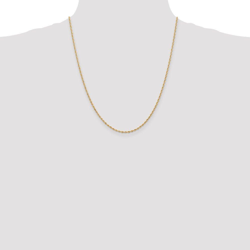 with Secure Lobster Lock Clasp Jewel Tie 14k Yellow Gold 1.84mm Diamond-Cut Quadruple Rope Chain