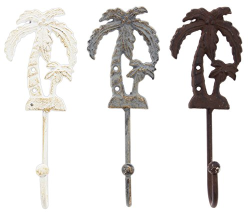 Distinctive Designs Set of 3 Assorted Wall Hooks Cast Iron Palm Trees