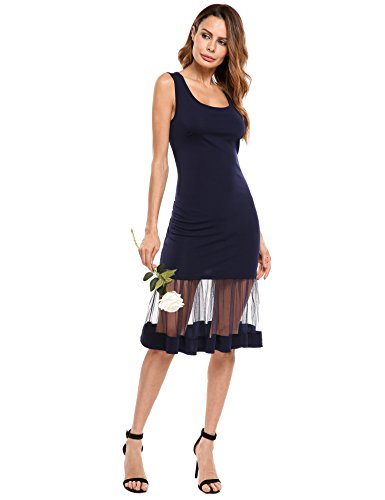 ACEVOG Women's Sleeveless Scoop Neck Midi Length Mesh Patchwork Slim Fit Bodycon Tank Dress Navy Blue