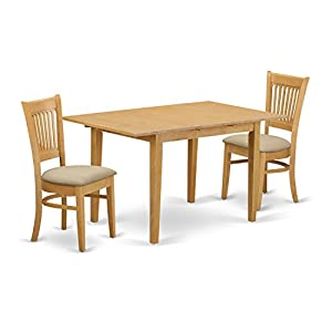 East West Furniture NOVA3-OAK-C 3 Piece Small Dining Table and 2 Dinette Chairs Set