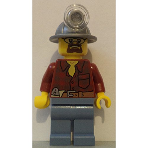 LEGO minifigure city coal miner light silver helmet mine construction figure plaid shirt dark - Plaid Helmet