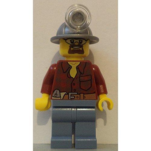 LEGO minifigure city coal miner light silver helmet mine construction figure plaid shirt dark - Helmet Plaid