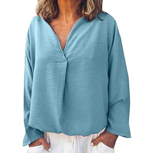 - Plus Size Women Solid Casual Linen V Neck Ruched Blouse T Shirt Long Sleeve Pullovers Top Plain Blue