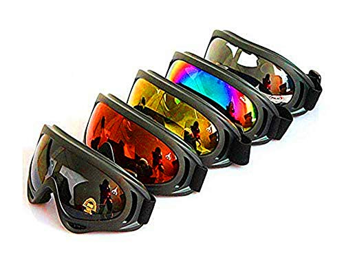 DPLUS Motorcycle Goggles - Glasses Set of 5 - Dirt Bike ATV Goggles Anti-UV 400 Adjustable Riding Offroad Protective Combat Tactical Military Goggles for Men Women Kids Youth Adult X400