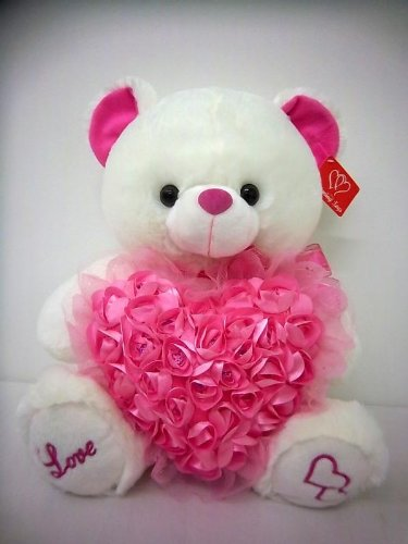 Pink Roses With Heart Shape Cake And Teddy Bear Gift My Emotions