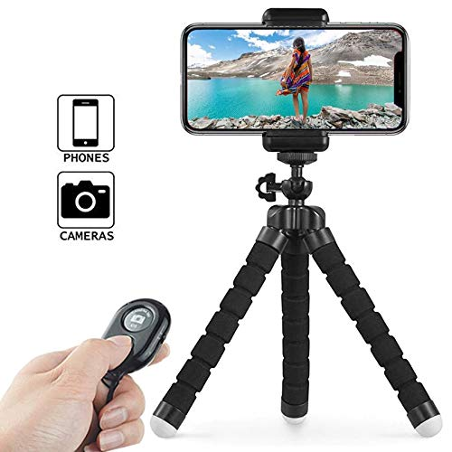 Tripod Flexible Cell Phone Lightweight Adjustable Camera Stand Holder with Wireless Remote Control and Universal Clip 360° Rotating Mini Tripod Stand for iPhone, Android Phone, Sports Camera GoPro. ()