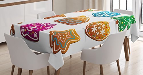 Gingerbread Man Tablecloth by Ambesonne, Set of Nine Gingerbread Cookies Cartoon Style Delicious Looking Pastries, Dining Room Kitchen Rectangular Table Cover, 52 W X 70 L Inches, Multicolor (Gingerbread Dinnerware Set)