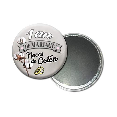 Magnet Aimant 5 6 Centimetres 1 An De Mariage Noces De Coton