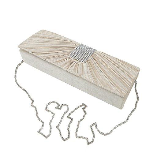 Elegant Classic Pleated Satin Flap Rhinestones Clutch Evening Bag, Champagne - Beige Classic Flap