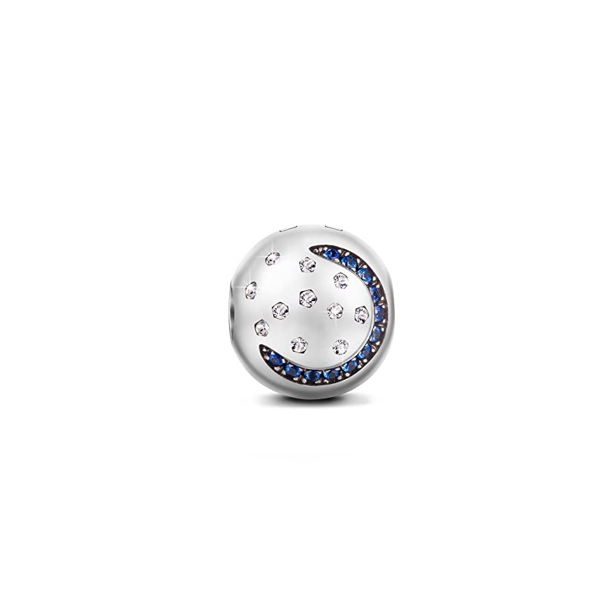 "NINAQUEEN""Starry Sky"" 925 Sterling Silver Moon and Star Stopper Clasp Charms with 5A Cubic Zirconia for Bracelets Wrist Ornaments Jewelry Accessories"