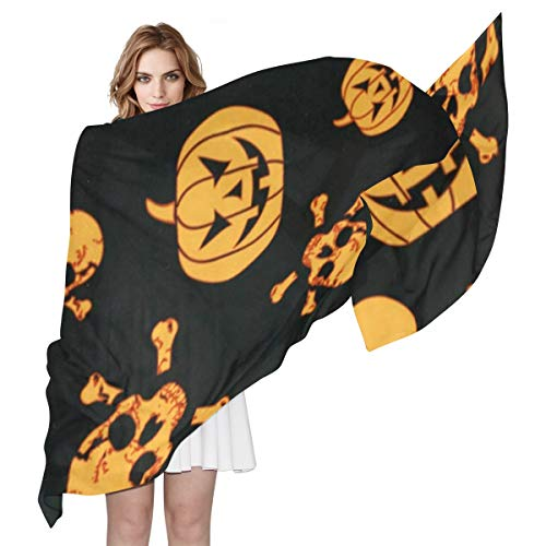 (Halloween Pumpkin And Ghost Sheer Scarves Shawl Wrap Outdoor Oblong Thin Chiffon Scarf For)