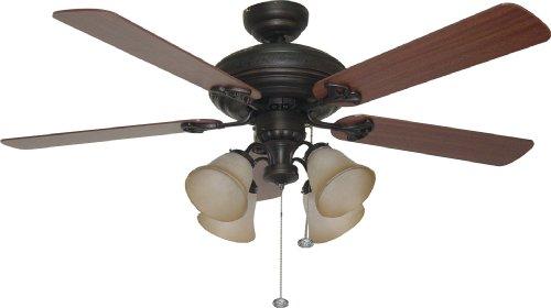 Litex E-BFT52ABZ5C Downrod Mount, 5 Dark Oak/Mahogany Blades Ceiling fan with 60 watts light, Aged Bronze