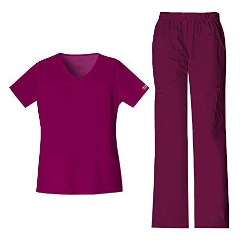 Cherokee Women's Workwear Core Stretch V-Neck Top 4727 & Mid Rise Pull On Cargo Pant 4005 Scrub Set (Wine - Medium/Medium Petite)