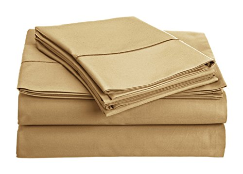 Chateau Home Collection 800-Thread-Count Egyptian Cotton Deep Pocket Sateen Weave Queen Sheet Set, Wheat