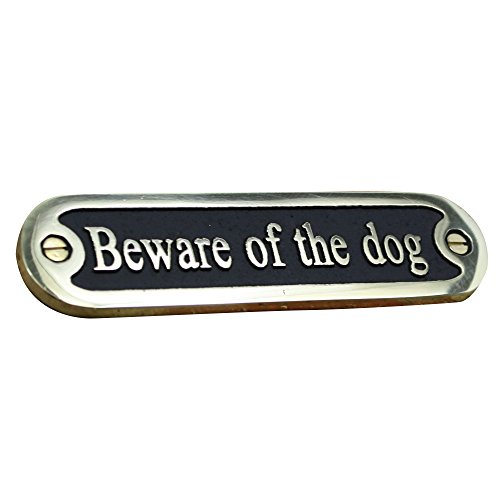 Beware Of The Dog Brass Door Sign. Traditional Style Home Décor Wall Plaque Handmade By The Metal Foundry UK. (Buy To Decorative Where Plates)