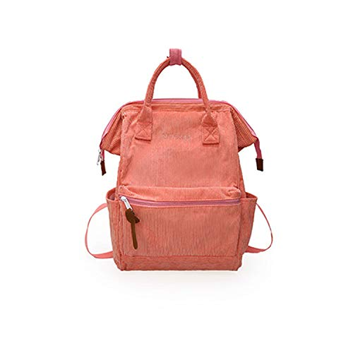 Corduroy Backpacks For Women 2019 Fashion Winter Casual Style Ladies Solid Color Back Pack Female Teens Girls School Backpack,Pink,26cm x 18cm x41cm