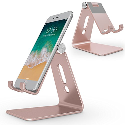 Adjustable Cell Phone Stand, OMOTON Aluminum Desktop Cellphone Stand with Anti-Slip Base and Convenient Charging Port, Fits All Smart Phones, Rose Gold (Iphone Gold 5s Edition)