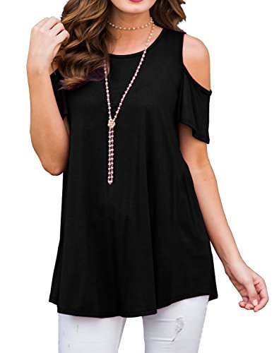 PrinStory Women's Short Sleeve Casual Cold Shoulder Tunic Tops Loose Blouse Shirts Black-XL … ()