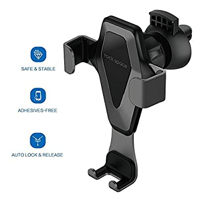 Car Cell Phone Holder - Hands-free Cell Phone Holder for Car, Air Vent Car Phone Mount with Auto Lock and Auto Release for iPhone X/8/7/7Plus/6s/6Plus, Samsung Galaxy/S8/S7/S6/Note 5, Nexus 6, etc. from ROCK SPACE