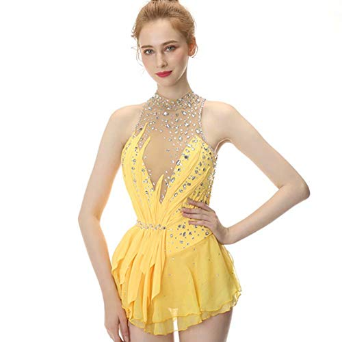 561c79f94bec Yellow Figure Skating Dress,Sleeveless Ice Skating Skirt,Spandex  Competition Dresses,Turtleneck Collar Mesh Skirt