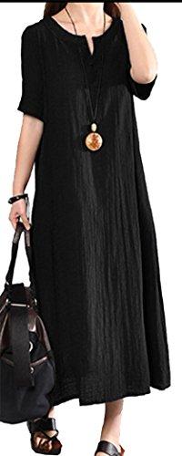 Yeesea Mujer Casual Algodón y Lino Talla Grande Largo Maxi Vestido Verano Kaftan Manga Corta Vestidos Negro