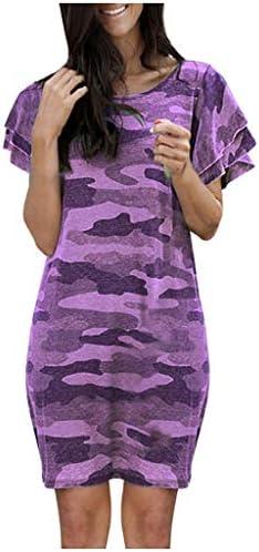Eoeth Women Camouflage Print Ruffle Short Sleeve Dress Fashion Casual Simple T-Shirt Loose O-Neck Knee-Length Dresses