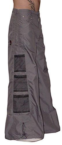 Ghast Unisex Cargo Drawstring Wideleg Mesh Pocket Rave Dance Pants, Charcoal 34 Inch Waist