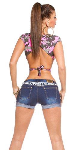 Koucla Jeans schöne Denim Shorts Damen Hot Pants destroyed Look Mini mit Spitze und Aplikationen verschiedene Farben (40, Blau/Weiß)