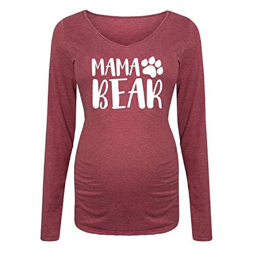 Mama Bear - Maternity Long Sleeve Tee Wine
