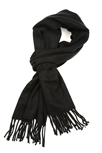 Sakkas 1590 - Booker Cashmere Feel Solid Colored Unisex Winter Scarf With Fringe - Black - OS